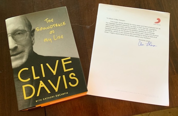 Picture of Clive Davis book with a Testimonial written to the right of it